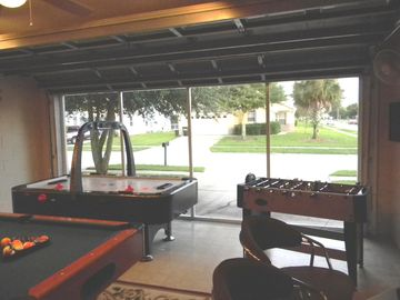 Billiards, air hockey, fussball, and darts are some of the games available.
