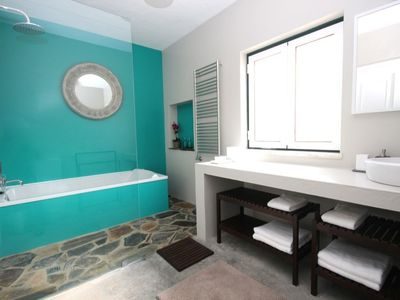 Pool facing double bedroom no. 2 en-suite bathroom (shower and bath)