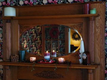 Dining room fireplace mantle