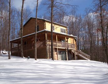 Back side of the cabin in winter