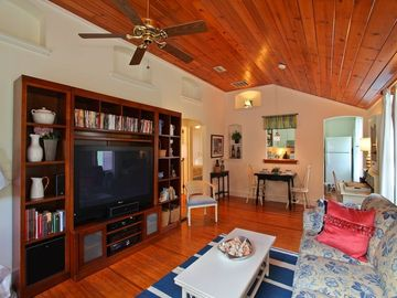 "50"" HDTV with DVR (record shows). Wood ceilings/floors Historic details abound."