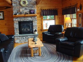 Lunenburg cabin photo - Living Area 1st flr w. gas fireplace.