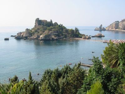 House Isola Bella - Taormina, Isola Bella in front, the sea at 200m, sand, sun