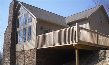 Hidden Valley house rental - Outside view of floor to ceiling windows and deck with view of Laurel Highlands