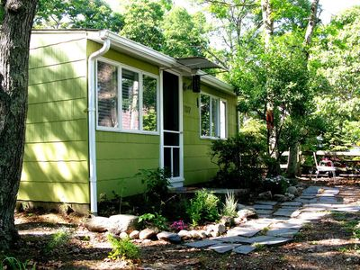 Sag Harbor cottage rental - Front of House Nestled in the Trees w/Sound of Wind Chimes from Bay Breeze