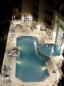 Nighttime view of pool