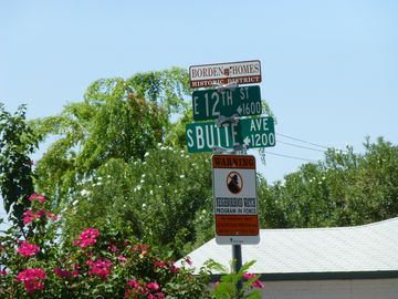 Street sign with historic district designation