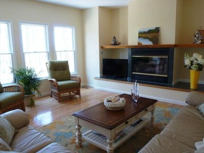 Spacious Family Room with views to the Chesapeake Bay. Large Flat Screen TV