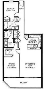 Wonderful Floor Plan. Master Bedroom & Living Room entry to balcony.