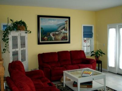 Family Room with flat screen TV, perfect for movie night or just hanging out.