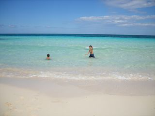 Silver Sands Jamaica villa photo - Noah and Aidan playing in the water