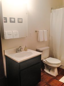 Attached bath with tub/shower
