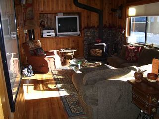 Carnelian Bay cabin photo - Living area, Kitchen and dining around to left.