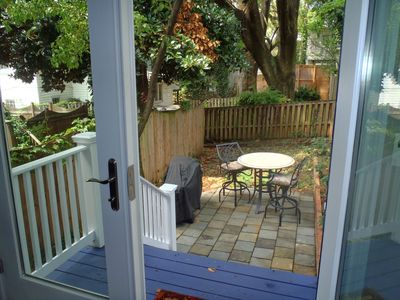 Backyard view through the French Doors