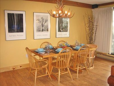 Large Dining Area Overlooks Mountains, Forest & Creek.  4 Additional Bar Seats.