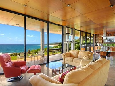 The living room - 10 foot high walls of glass to the Pacific.