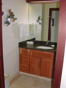 Separate comfortable Vanity with granite top & European Faucet. Hair Dryer too!