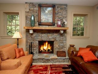 Cashiers estate photo - Lower Level Game Room Fireplace