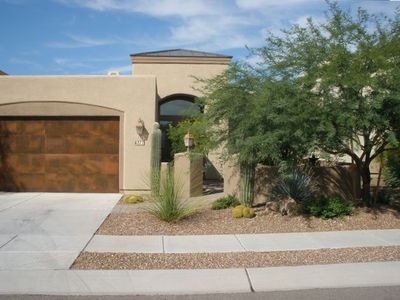 Beautiful Southwestern Architecture with Front Courtyard and Saguaro Cactus