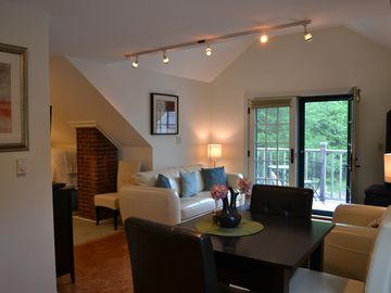 Blue Hill apartment rental - Dining Area, Living Room, and Deck!