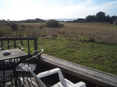looking across meadow to the ocean from deck