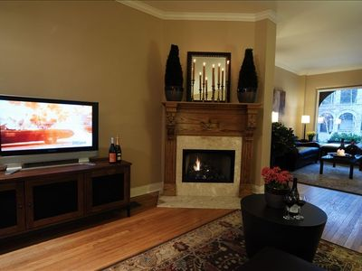 HD flat screen and fireplace