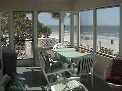 Back screened in porch and view of the beach and Gulf of Mexico
