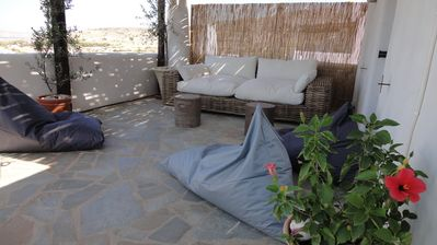 Paros villa rental - Upper Terrace Lounge Area