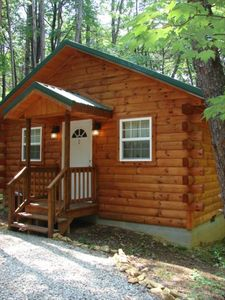 Acorn Ridge, a cozy one room log cabin secluded in the woods. Romantic getaway!