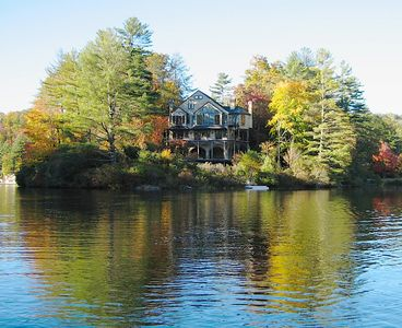 Highlands chalet rental - La Chatelaine as seen from owner provided canoes.