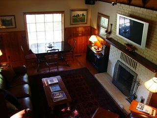 Lake Arrowhead cabin photo - View of living room from the upstairs landing