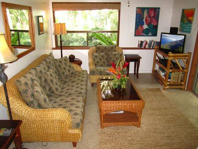 Family Room of Plumeria Suite. Has private patio with lawn and gardens