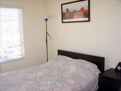 Third bedroom has two windows,full size platform bed with queen mattress