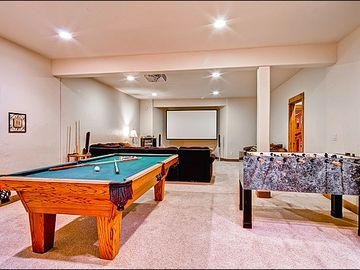 Lower Level Movie Room, Pool Table and Foosball