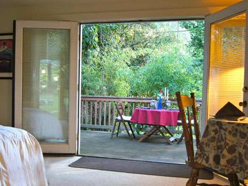 Sacramento cottage rental - Open the French doors for a little night music as the sun sets in the West.