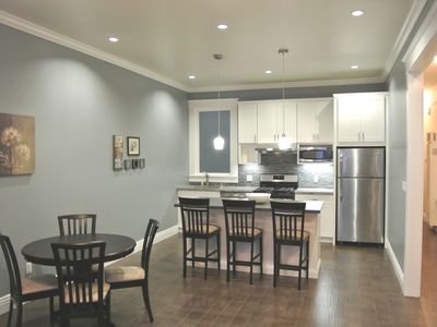 San Francisco apartment rental - A view of the kitchen and dining areas.