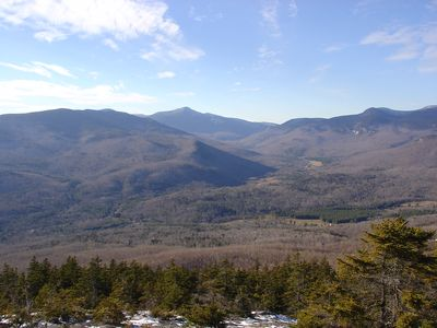 View from Puzzle Mountain. The trail head is across the street from the cabin.