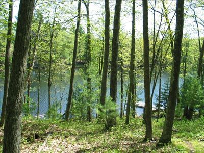 325 acre private lake, dock, overlooks island, canoe/small fishing boat provided