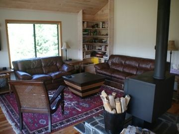 Comfortable sitting area in front of the wood stove