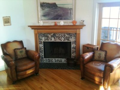 Fireplace with leather recliners