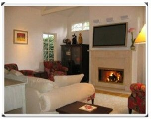 Carmel house photo - Living Room/fireplace/large screen TV