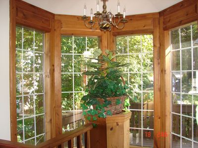 Highland Lake chalet rental - stairwell in main home-