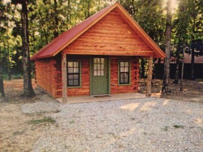 front of real cedar cabins