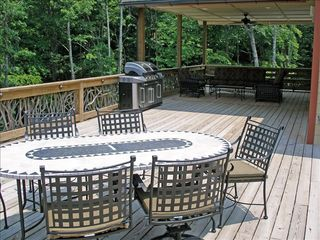 Lake Toxaway house photo - Covered Deck, Gas Grill, Fan, Upgraded Furniture. Seats for entire group!