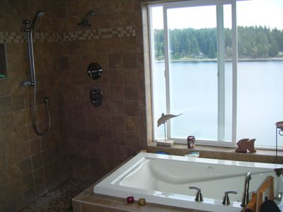 View to Filucy Bay from jetted tub in master suite.