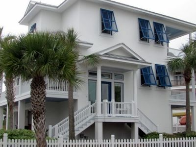 Carillon Beach house rental - Entrance! L porch is kids room. 2 R porches face ocean from 2 master BRs and LR