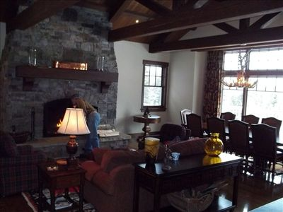 Great Room- wood burning fireplace with log starter- Views into Glacier Park