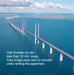 Amager apartment photo - Free bridge pass card for cars to Sweden - normal bridge fee is USD 100 per retu