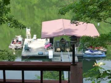 Lewis Smith Lake cabin rental - Large, Private, relaxing dock on calm water - Slide and Diving board