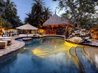 Bradenton estate rental - Casa Encantada's private tropical lagoon and tiki hut.